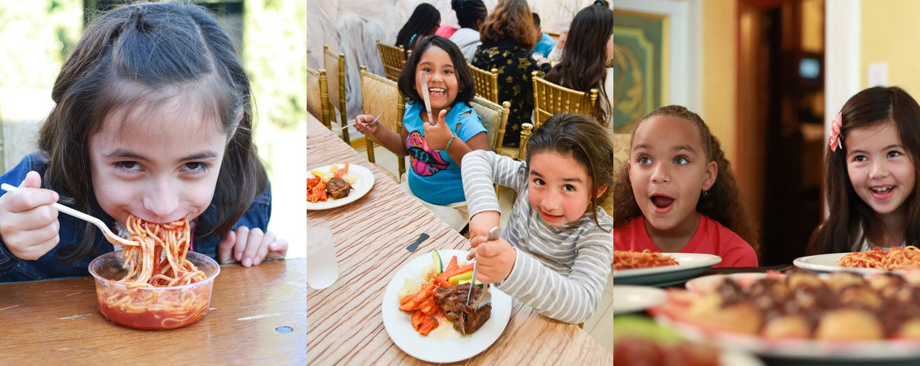 banner of kid eating pasta, kids eating steak, kids with two pasta plates